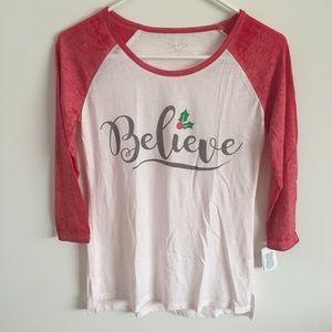 NWT Christmas Themed 3/4 Sleeve baseball T Shirt